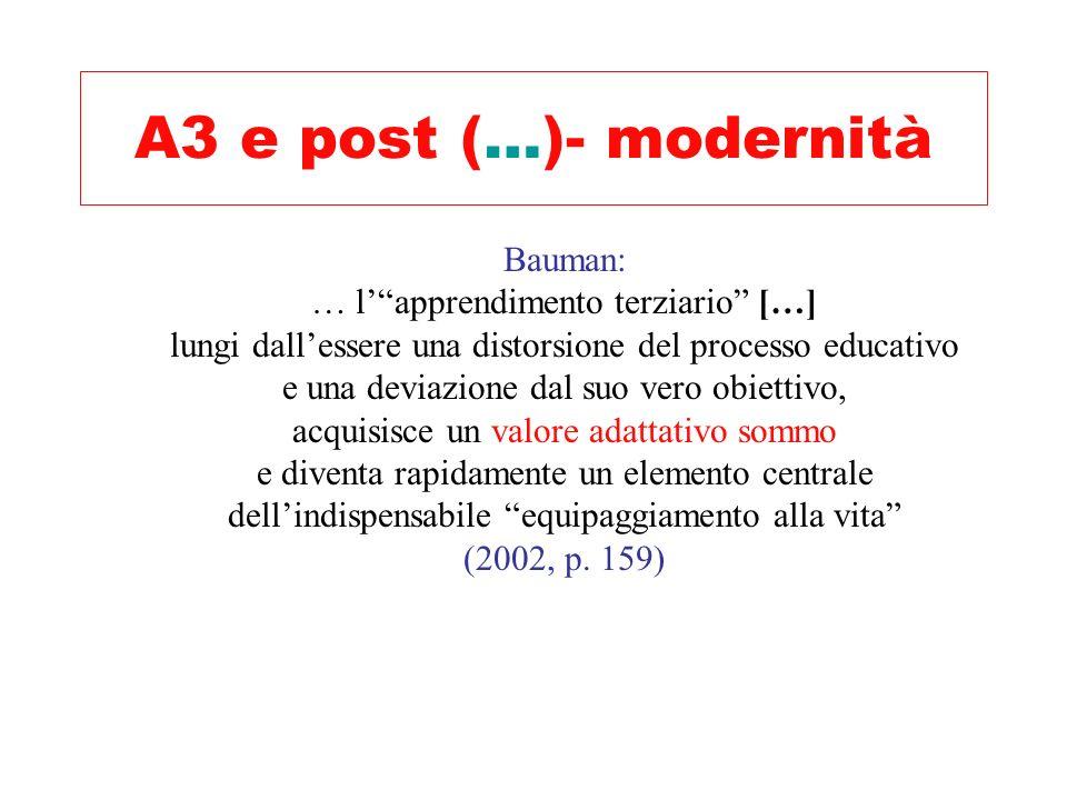A3 e post (…)- modernità Bauman: … l' apprendimento terziario […]